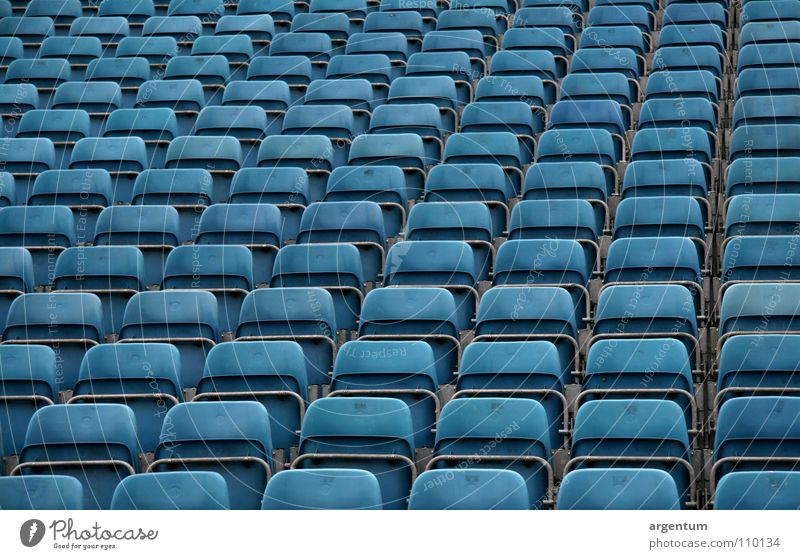 Blue Architecture Empty Perspective Multiple Shows Concert Event Row Audience Many Expectation Seating Row of seats Grid Incline