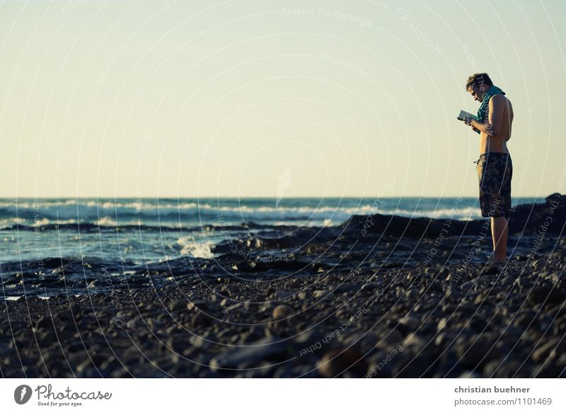 Human being Sky Nature Youth (Young adults) Water Relaxation Ocean Loneliness Young man 18 - 30 years Far-off places Adults Life Spring Coast Sand