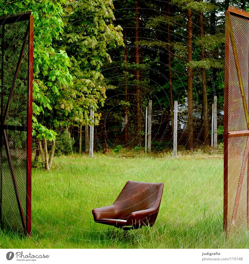 between them Fence Armchair Meadow Forest Real estate Border Above Seating Green Brown Colour Furniture Gate Open Between