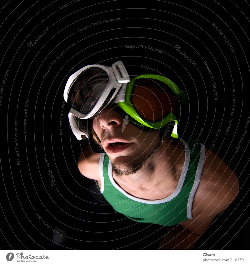 double holds better 2 Skiing goggles Green Bright green White Reflection Sports top Snowboarder Sleeveless t-shirt Man Masculine Portrait photograph
