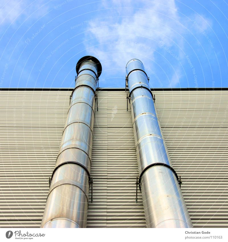 Sky Blue Clouds Metal Industry Factory Smoke Pipe Silver Chimney Supermarket