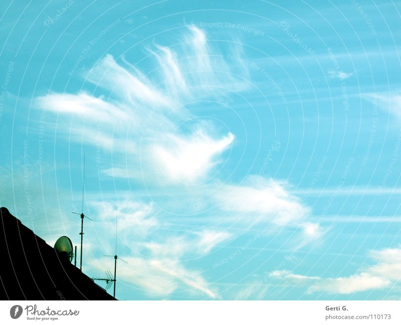 screwed up, nä? Vapor trail Low-flying plane Formation Cloud formation Electricity Muddled Sky blue Clouds Altocumulus floccus Roof Antenna Roofing tile
