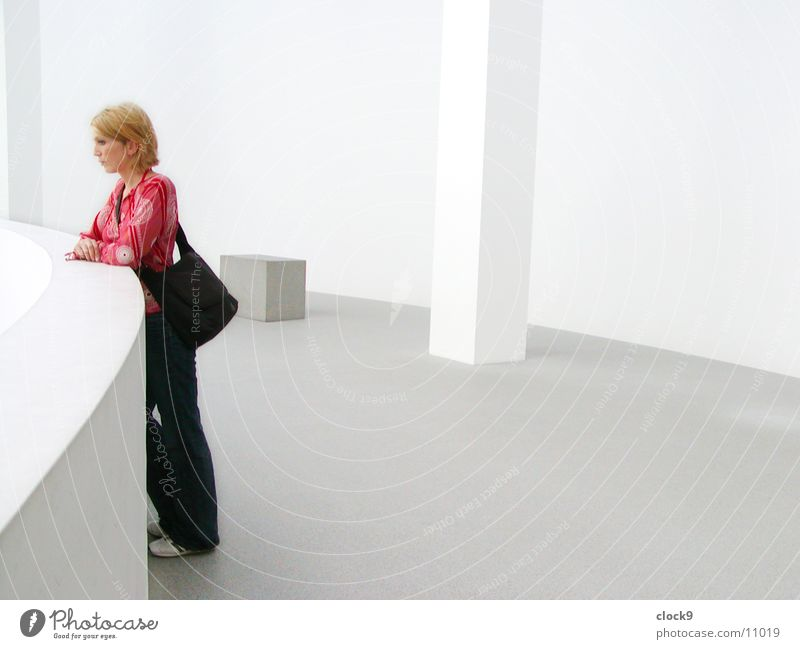 Woman and space Munich White Pure Light Exhibition Room Picture gallery Bright Looking Loneliness