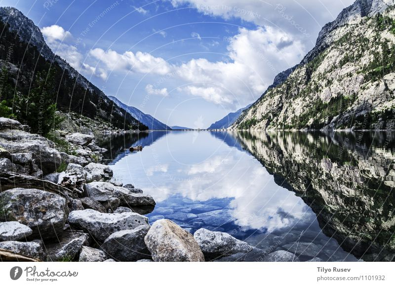 Crystal River Beautiful Mountain Environment Nature Landscape Sky Clouds Rock Art crystal peaceful water Flow Pyerenees Spain Europe wood Colour photo