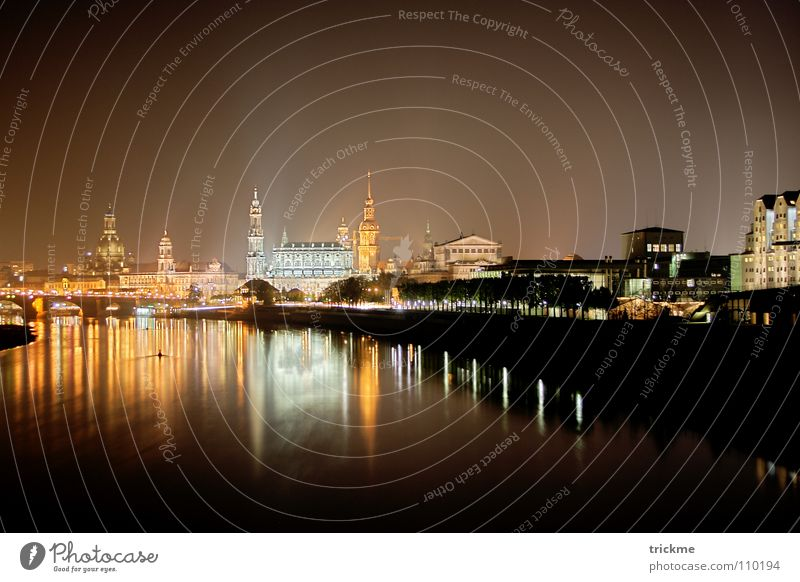 Dresden at night Town Light Night Dark Black Yellow House (Residential Structure) Lamp Calm Reflection Horizon Building Monument Tourist Vacation & Travel
