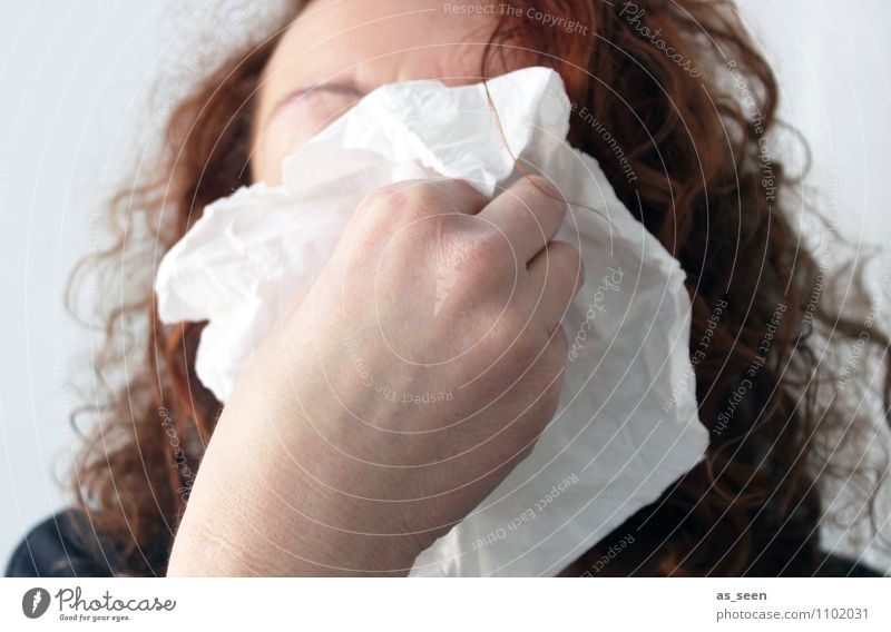 Ahchoo!! Woman Adults Life Nose Hand 1 Human being Handkerchief Authentic Brash Illness Funny Sadness Grief Pain Common cold Health care flu Blow one's nose