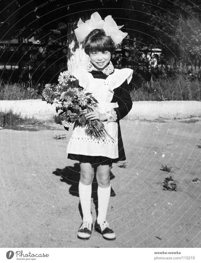 First day of school Girl Flower Bouquet Bow Autumn Child School uniform First school day