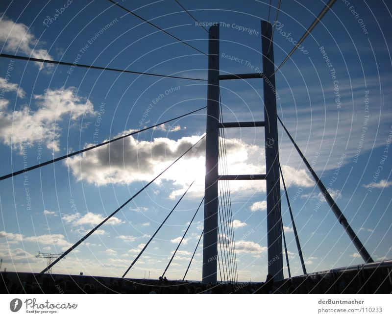 Sky Sun Clouds Street Bridge Connection Manmade structures Rügen Pylon Tentacle Wire cable
