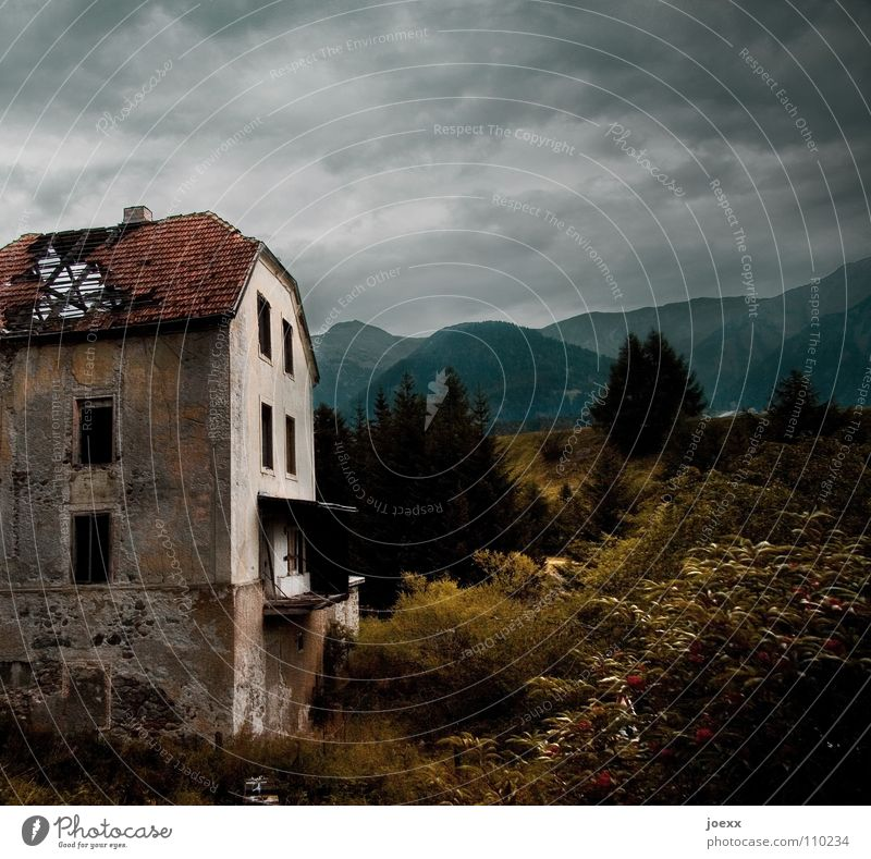 Nature Old Sky House (Residential Structure) Clouds Loneliness Dark Wall (building) Window Mountain Gray Stone Fear Poverty Broken Creepy