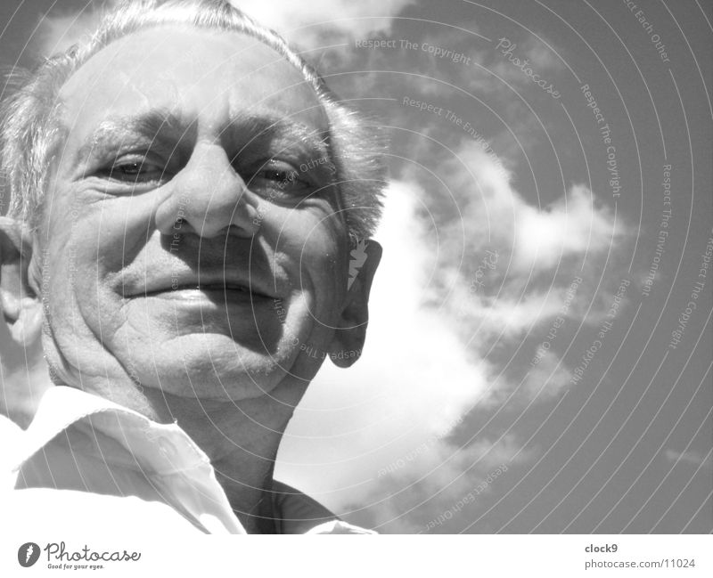 Looking ahead Man Grandfather Wisdom Light Portrait photograph Black White Sky Old Laughter bizarre Sun Head