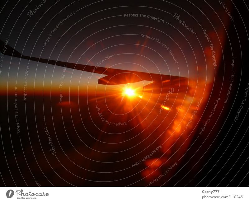 Solar energy Clouds Airplane Infinity Horizon Morning Sunrise New start Sky Aviation Wing Earth transatlantic Dawn Energy industry Warmth