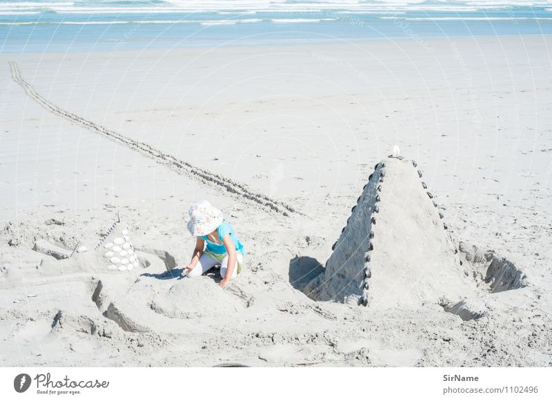 Child Vacation & Travel Ocean Girl Beach Far-off places Architecture Natural Playing Freedom Line Sand Dream Infancy Large Cute