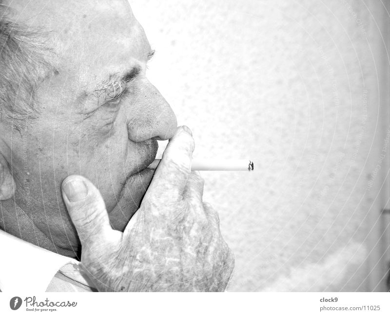 Man Old Head Think Smoking Cigarette Grandfather