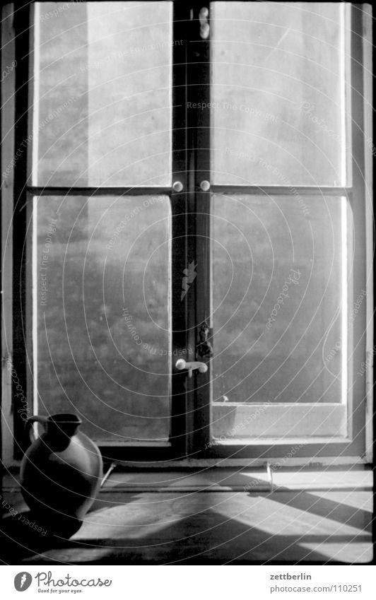 windows Window Window board Pane Backyard Wall (barrier) Fire wall Vase Water jug Earthenware jug Window box Without prospects Kitchen Flat (apartment) Detail