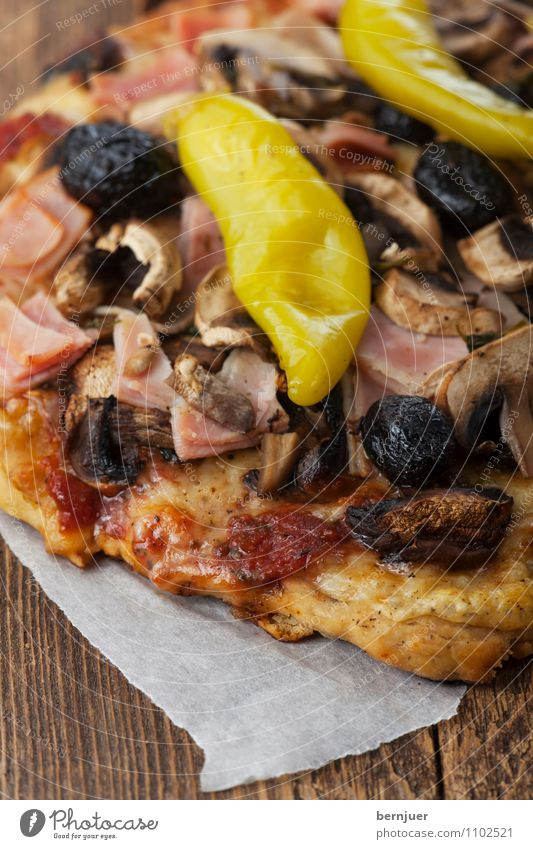 Red Dark Wood Fresh Table Cooking & Baking Kitchen Vegetable Delicious Mushroom Dinner Tomato Cheese Pizza Self-made Olive