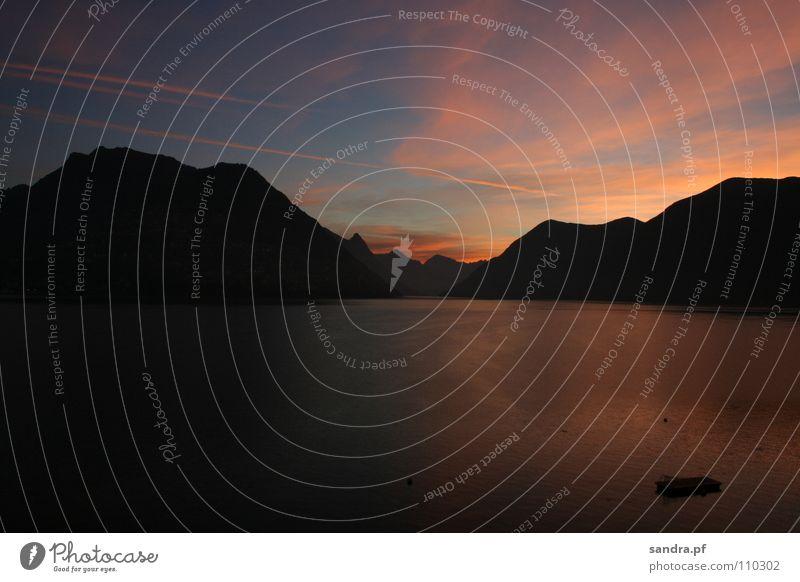 Sky Sun Blue Black Clouds Lamp Dark Mountain Lake Landscape Moody Orange Pink Horizon Rock Switzerland