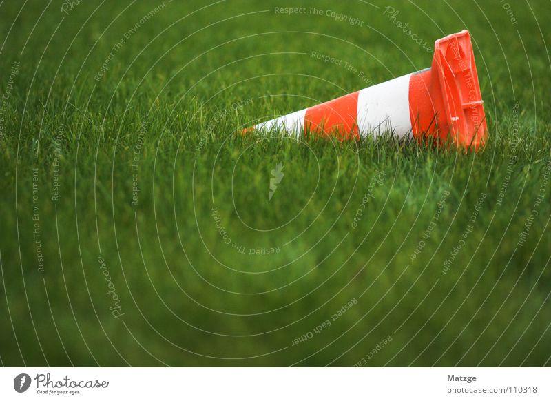 Mis Verchehrstöggeli White Barrier Close Grass Green Grass green Meadow Stripe Traffic cone Warning label Warning sign Transport traffic cap Orange warning