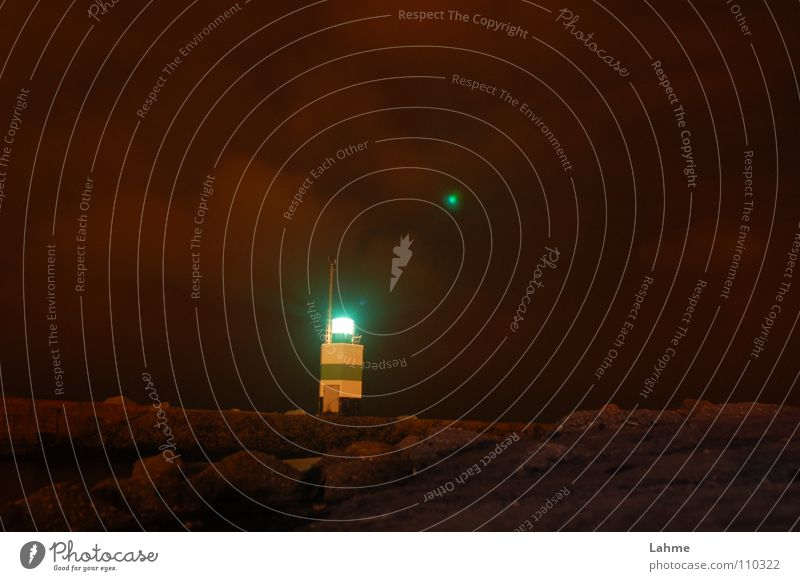 starboard beacon harbour entrance IJmuiden Lighthouse Beacon Mole Navigation Watercraft Sailing Night Clouds Brown Ocean North Sea Harbour Sky Reflection Stone