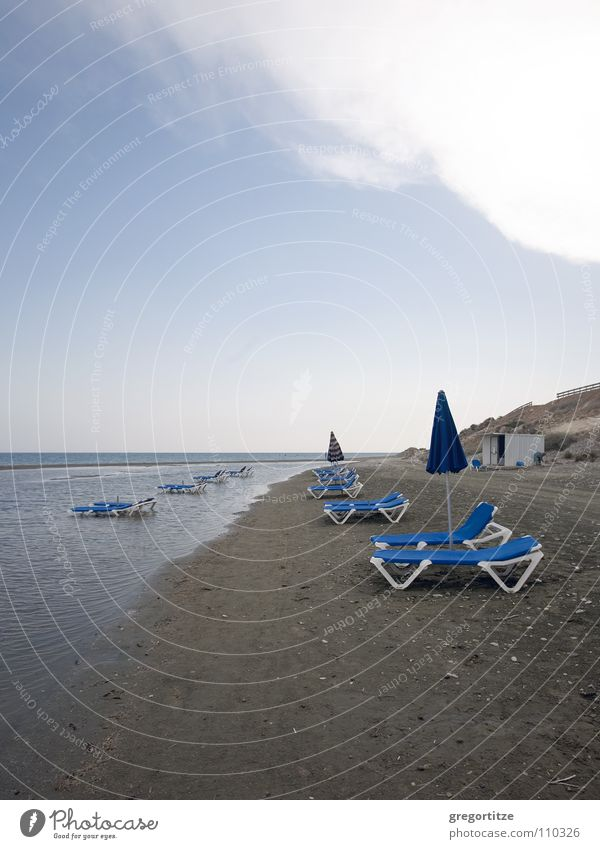 lonely sunbeds Ocean Deckchair Cyprus Clouds Sunshade sun bed lonesome sea larnaka umbrella