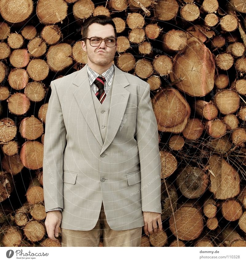 wood? Man Fellow Suit Jacket Vest Gray Brown Pants Tie Striped Hand Bright Theft Purloin Tight-fisted Fantastic Eyeglasses Stack of wood Wood Firewood Heat