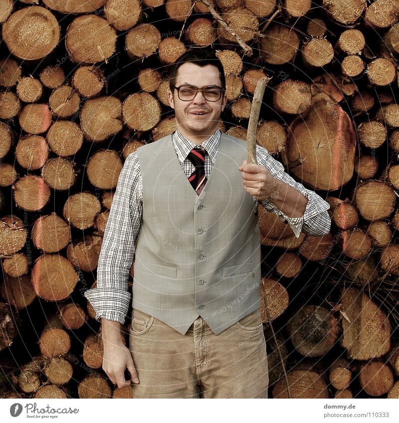 yoo Man Fellow Suit Jacket Vest Gray Brown Pants Tie Striped Hand Bright Theft Purloin Tight-fisted Fantastic Eyeglasses Stack of wood Wood Firewood Heat Winter