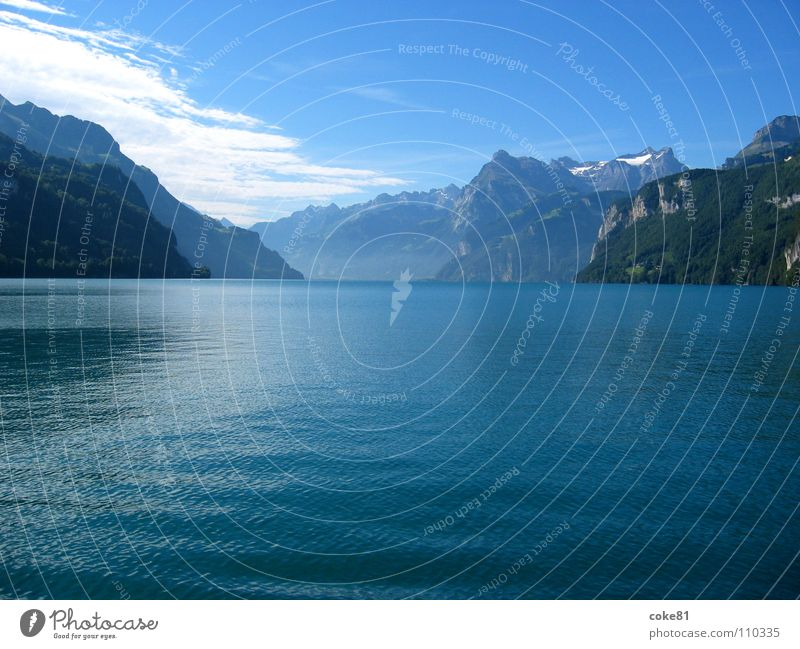 Water Blue Summer Mountain Lake Watercraft Horizon Switzerland