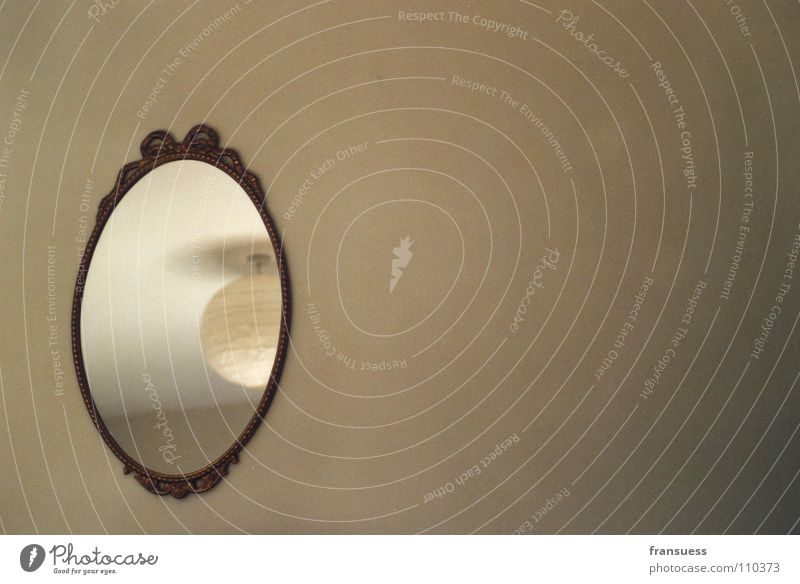 mirror, mirror on the wall... Mirror Reflection Lamp Mirror image Wall (building) Room Empty Beige Jewellery Ceiling light Round Living room hanging. hanging