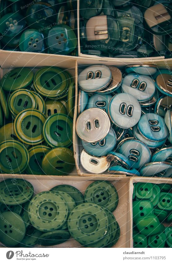 button box Box Collection Many Blue Green Buttons Arrange Flea market Flea market stall Difference Colour photo Detail Deserted Long shot