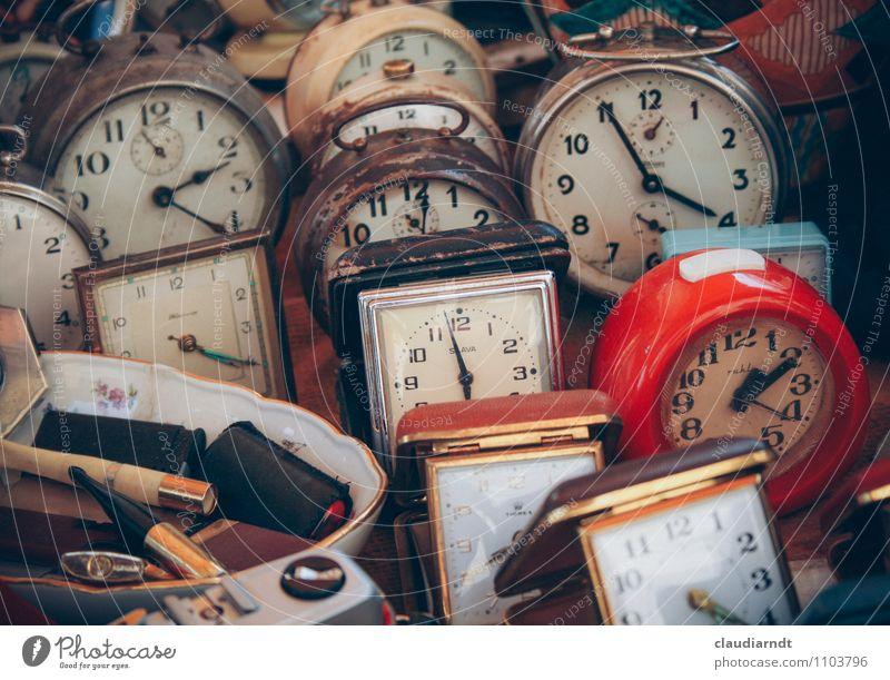 it's ticking... Clock Old Broken Retro Trashy Red Past Time Future Alarm clock Flea market Flea market stall Clock face Time zones Colour photo Exterior shot