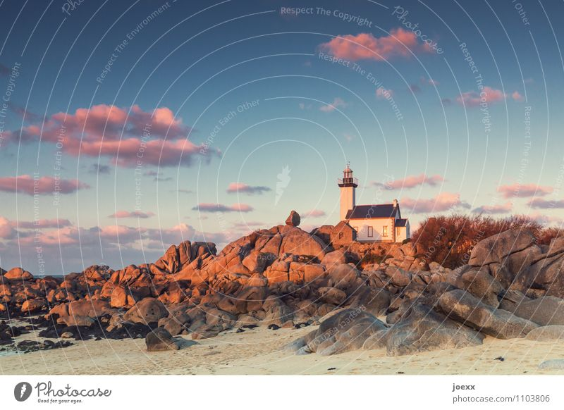 Phare de Pontusval Sky Clouds Rock Coast Beach Lighthouse Brown Pink Idyll Colour photo Exterior shot Evening Twilight Sunrise Sunset