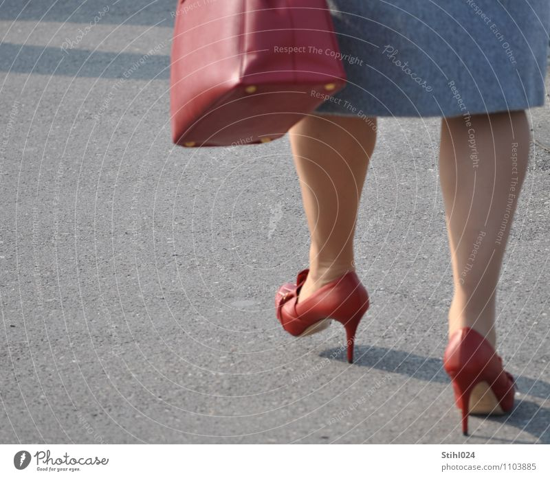 red high heels Elegant Style Feminine Woman Adults Legs 1 Human being 30 - 45 years Skirt Footwear High heels Relaxation Going Fat Thin Gray Red Joy