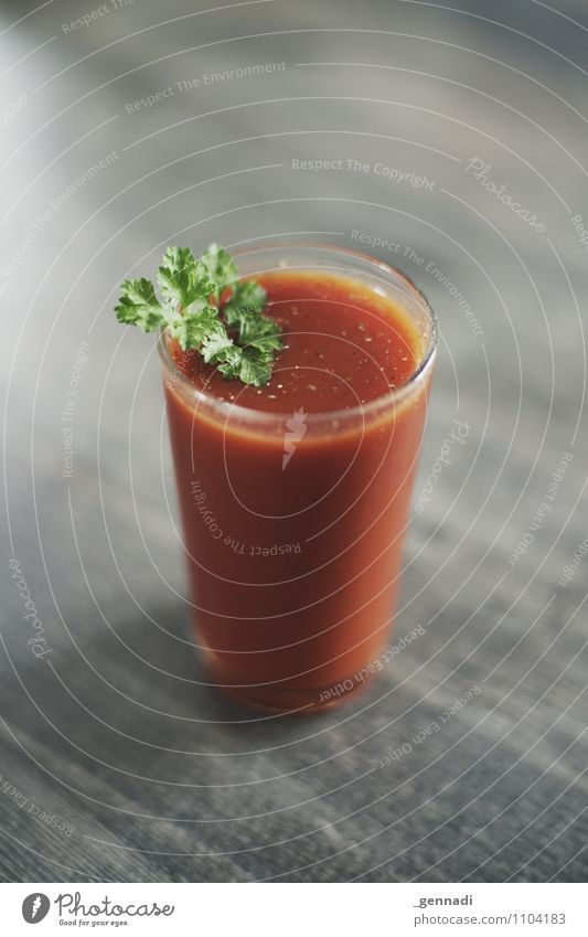 tomato juice Food Vegetable Tomato Juice Parsley Salt Pepper Vegetarian diet Diet Fasting Red Tomato juice bloody Mary Colour photo Interior shot Studio shot