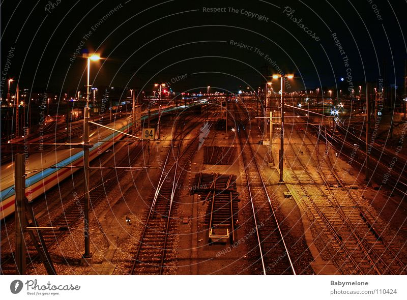 On the way to nowhere Night Railroad Basel Transport Railroad tracks Long exposure Dark Speed Overnight train Arrival Vacation & Travel Driving Train station