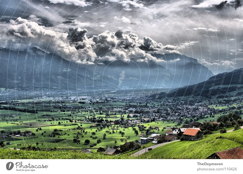 Valley in HDR Clouds Meadow Rural Pasture Switzerland Lichtenstein Grass Hill Photographic technology Sky Landscape ultra-high contrast Mountain Nature Colour