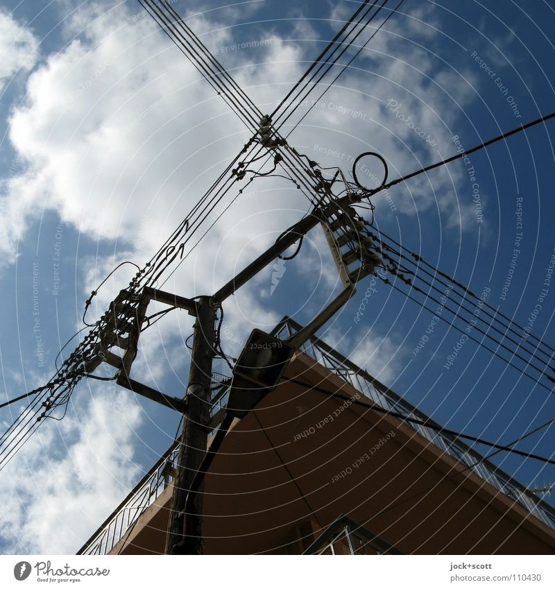 Blue Clouds Line Energy industry Power Electricity Europe Retro Network Target Street lighting Serene Wanderlust Material