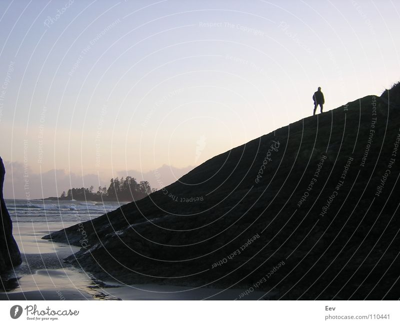 Man Sky Ocean Beach Black Loneliness Rock Island Derelict