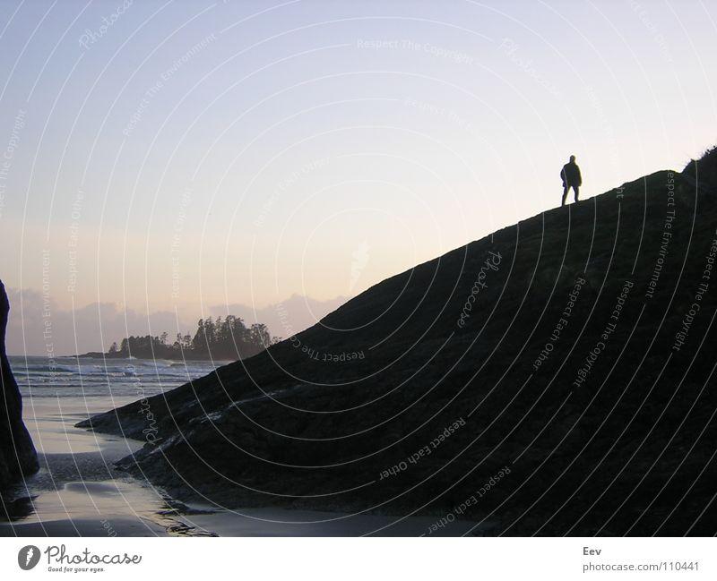 tofino Man Ocean Beach Loneliness Black Derelict Rock Sky Island