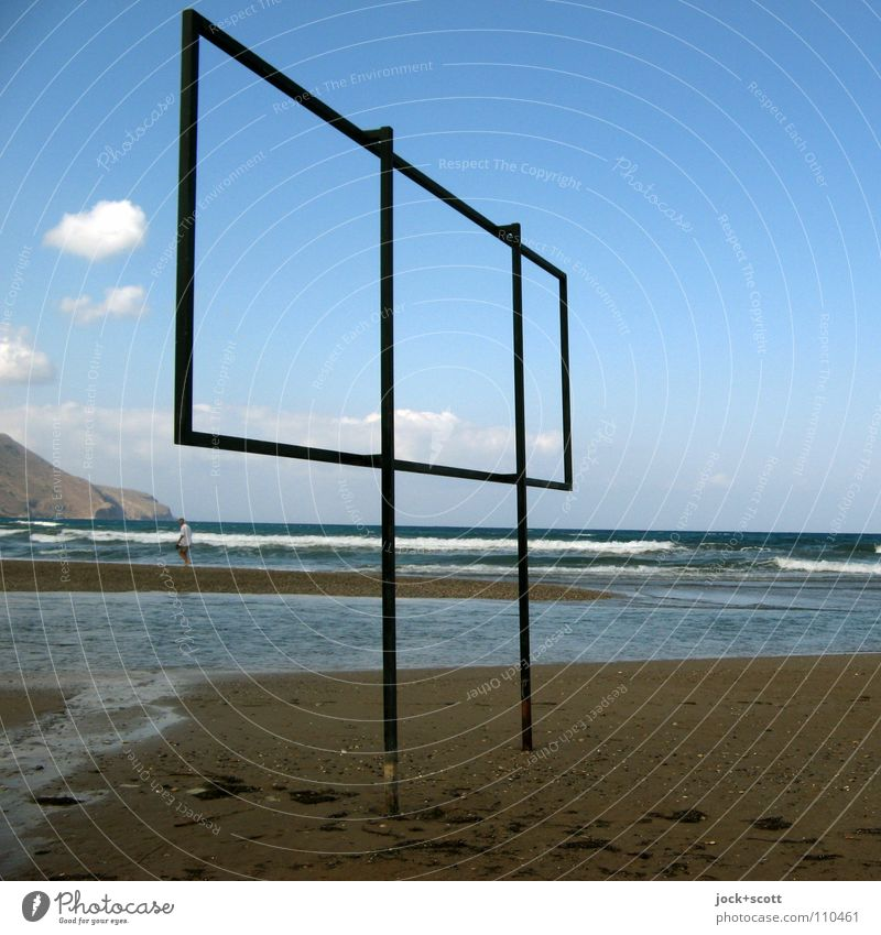 Without words in the frame Ocean 1 Human being Water Clouds Horizon Warmth Coast Beach Mediterranean sea Crete Signs and labeling Idyll Inspiration Time plane