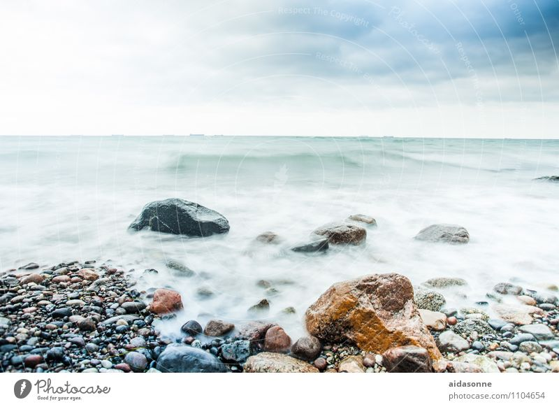 Baltic waves Environment Landscape Water Sky Horizon Bad weather Storm Wind Gale Waves Beach Aggression Cool (slang) Cold Rock Mecklenburg-Western Pomerania