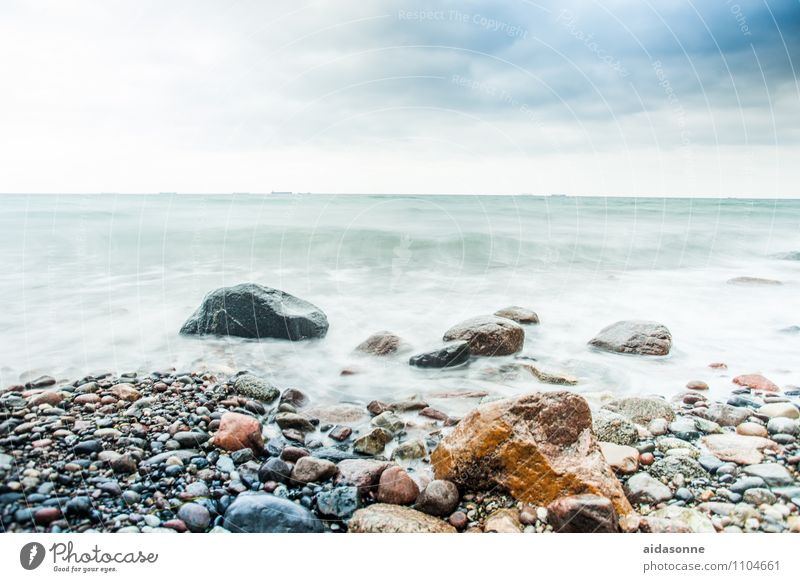 Baltic beach Landscape Water Sky Clouds Horizon Storm Wind Gale Waves Coast Baltic Sea Vice Success Power Mecklenburg-Western Pomerania Rock Surf Colour photo