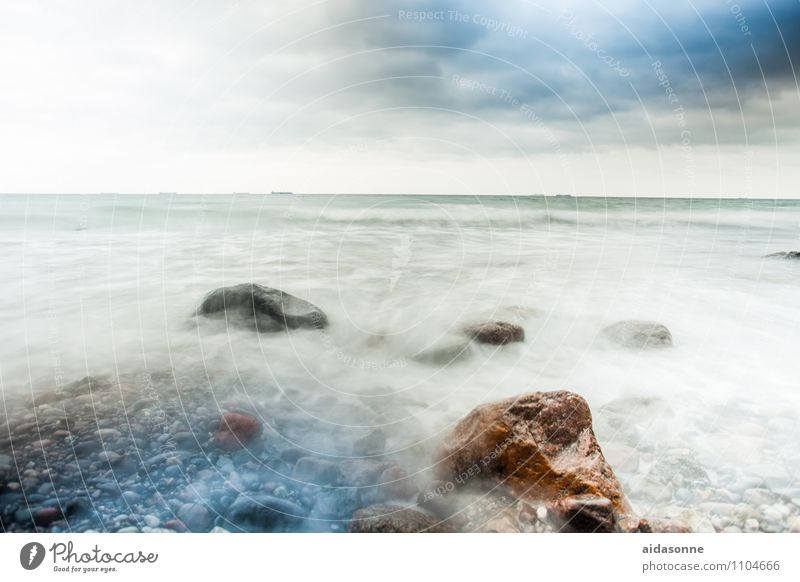 Baltic Water Clouds Horizon Bad weather Gale Waves Baltic Sea Exceptional Threat Power Wanderlust Loneliness Mecklenburg-Western Pomerania Stone Rock