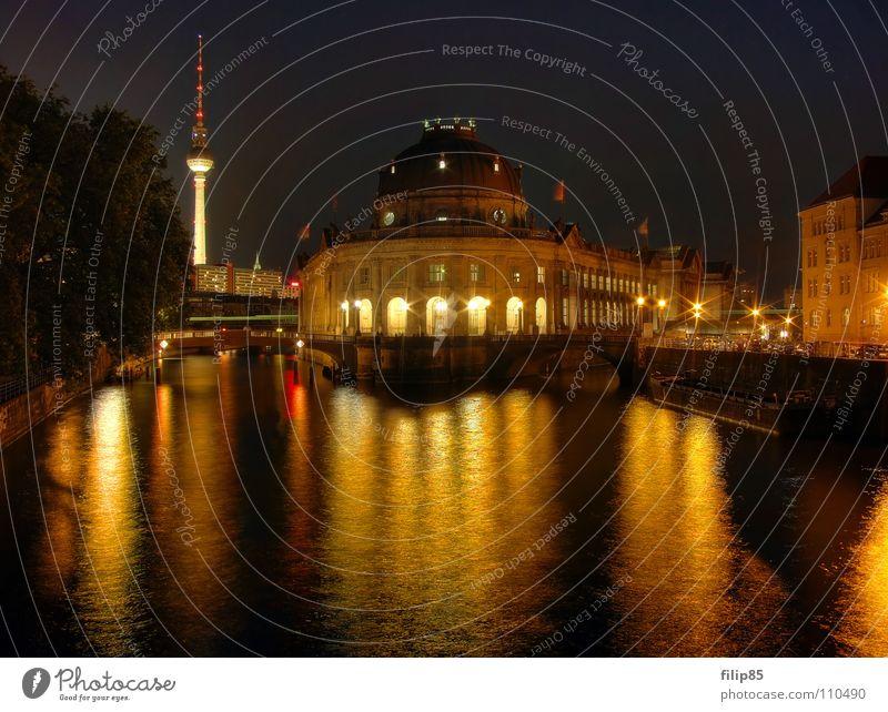 Water Art Gold Berlin Bridge Culture Historic Illuminate Museum Downtown Berlin Capital city Tourist Attraction Berlin TV Tower Classic Spree Evening sun