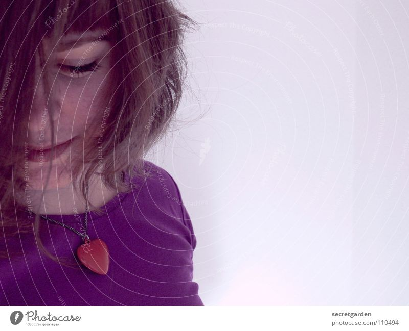 blushing Woman Violet Lilac Red T-shirt Eyelash Portrait photograph Self portrait Jewellery Short haircut Wall (building) White Torso Human being Clothing