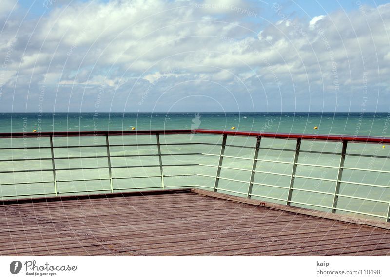 Water Sky Ocean Green Blue Far-off places Lake Line Horizon Longing France Traffic infrastructure Hallway Handrail Wanderlust