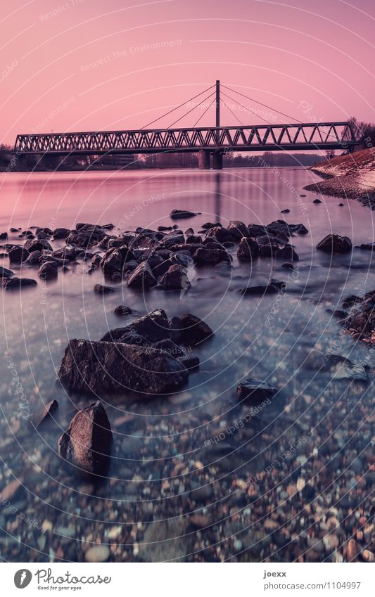 /\/\/\/\/\/\/\/\/\/\/\ Water Cloudless sky Sunrise Sunset River bank Bridge Manmade structures Horizon Lanes & trails Colour photo Exterior shot Deserted