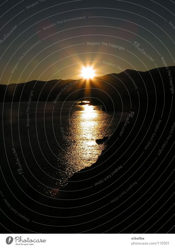 Sun Ocean Summer Yellow Lighting Coast Gold Rock Island Greece Celestial bodies and the universe Paros