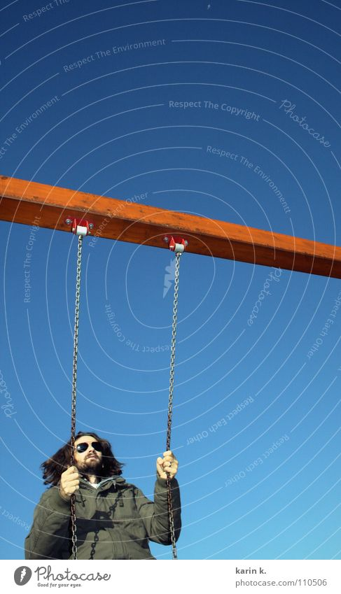 Man Hand Sky Joy Autumn Playing Freedom Hair and hairstyles Eyeglasses Wing Chain Swing Playground Joist