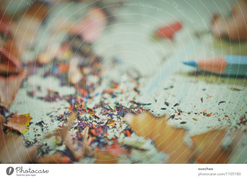 where planing is done ... Shavings Wood shavings Multicoloured Trash Crayon sharpen Lie color chips