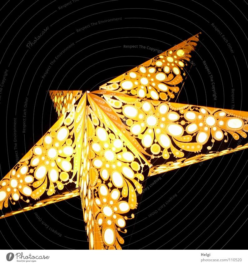 Star as decoration in front of black background Pattern Yellow Black White Christmas & Advent Hang Hang up Brilliant Paper Light Christmas Fair Window Winter