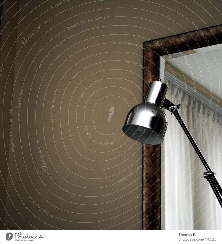 One luminaire Lamp Light Electric bulb Chrome Room Mirror Curtain Drape Wall (building) Boredom Interior design Frame